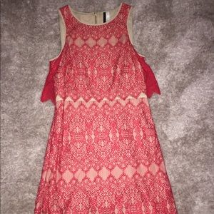 Red & Nude Lace Dress